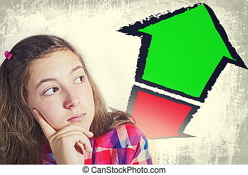 Portrait of beautiful teenager faced with choice