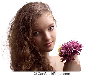 Portrait of beautiful teenager girl with flower isolated
