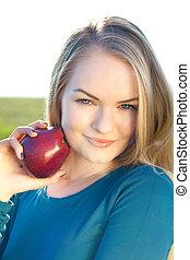 portrait of beautiful teenager women outdoor