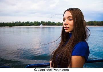 Portrait of beautiful thoughtful woman