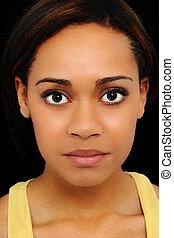 Portrait of Beautiful Twenty Year Old Black Woman Up Close over Black Background.
