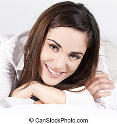 beautiful woman alone on the sofa