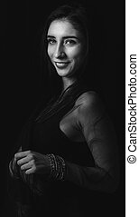 Portrait of beautiful woman in black and white