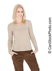 Portrait of beautiful woman in casual clothes