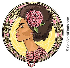 Portrait of beautiful woman in floral border, Icon or logo, ...