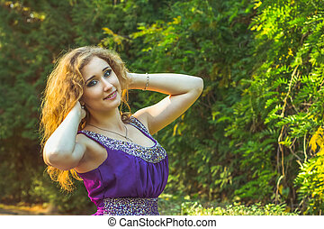 portrait of beautiful woman in nature