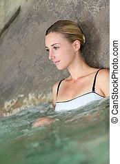 Portrait of beautiful woman in spa treatment