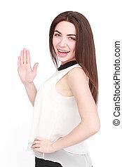 Portrait of beautiful woman in white