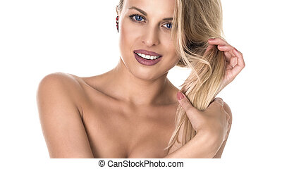 Portrait of beautiful woman on white background. perfect smile. stomatological concept