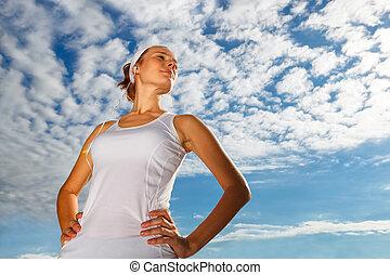 Portrait of Beautiful Woman ready to start workout.