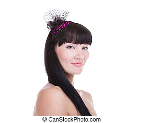 Portrait of beautiful woman wearing a stylish hat isolated on white