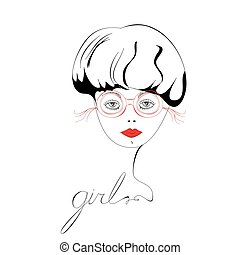 Portrait of beautiful woman wearing glasses
