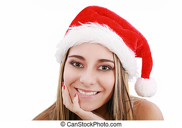 Portrait of beautiful woman wearing santa claus hat on white background