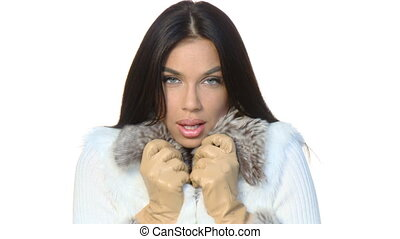 Portrait of beautiful woman wearing winter clothes