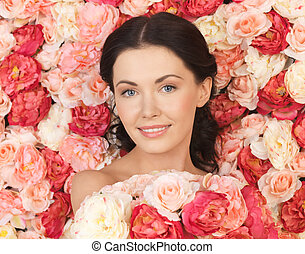 woman with background full of roses