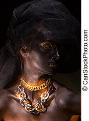 Portrait of beautiful woman with black skin