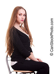 Portrait of beautiful woman with blonde long hair