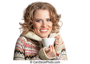 portrait of beautiful woman with cup on white background