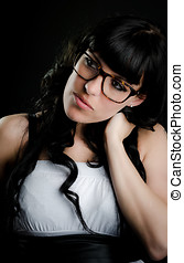 Portrait of beautiful woman with glasses