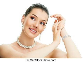 woman with jewelry - portrait of beautiful woman with ...