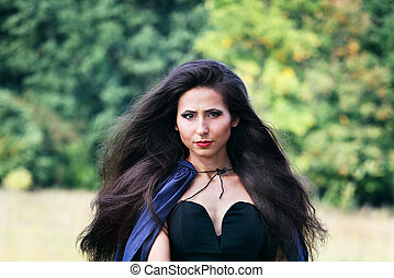 woman with luxury long hair