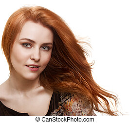 portrait of beautiful woman with magnificent hair on white