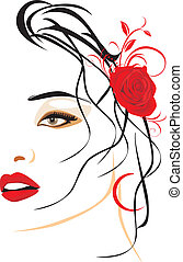 Portrait of beautiful woman with red rose in hair. Vector illustration