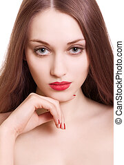 portrait of beautiful woman with sensual red lips on white background
