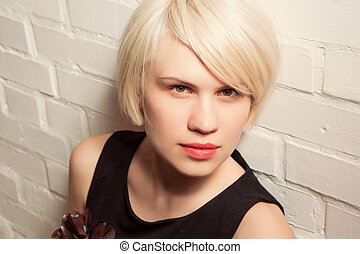 Portrait of  beautiful woman with short hair