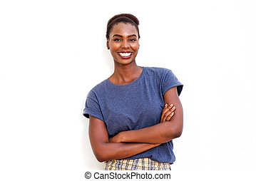 beautiful young african american woman smiling against isolated white background