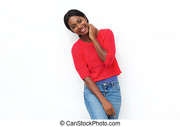 beautiful young african american woman smiling against white background