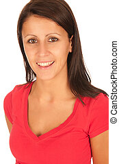 Portrait of beautiful young brunette girl in red t-shirt isolated on white background