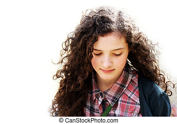 Portrait of beautiful young girl isolated on the white