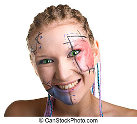young girl with plaits