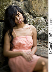 Portrait of beautiful young Pacific Islander woman - ...