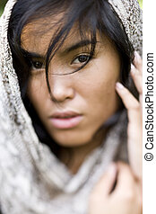 Portrait of beautiful young Pacific Islander woman - Face of...