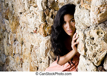 Portrait of beautiful young Pacific Islander woman -...