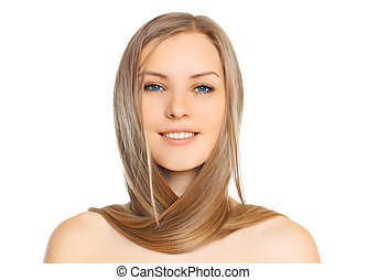 Portrait of beautiful young smiling woman with long hair on a white background