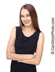 Portrait of beautiful young smiling woman