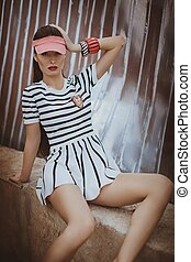 Portrait of beautiful young sporty woman