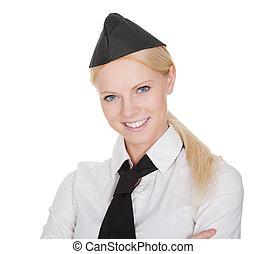 Portrait of beautiful young stewardess