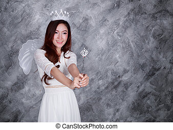 portrait of beautiful young woman angel