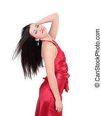 portrait of beautiful young woman in a red dress