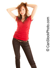 Portrait of beautiful young woman in jeans and red top