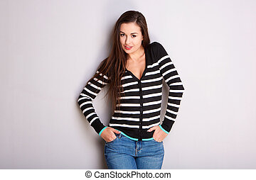 beautiful young woman in striped sweater