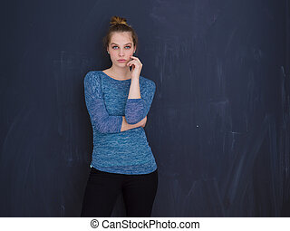 young woman isolated on grey background