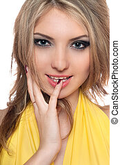 Portrait of beautiful young woman. Isolated
