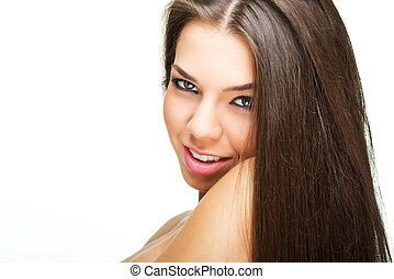 Portrait of Beautiful Young Woman looking at Camera