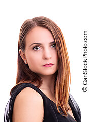Portrait of beautiful young woman looking at the camera