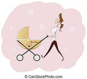 Portrait of beautiful young woman pushing baby carriage